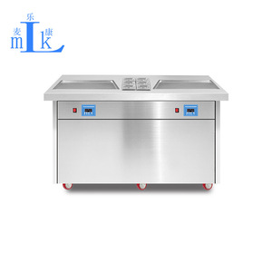 Miken Double Plates with Salad Bar Fry Ice Cream Machine/Ice Cream Cold Plate/ Fry IceCream Roll Freeze Cold Plate Factory
