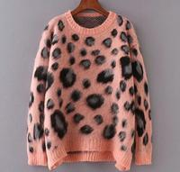 oem odm ladies female crewneck leopard angora mohair wool sweater