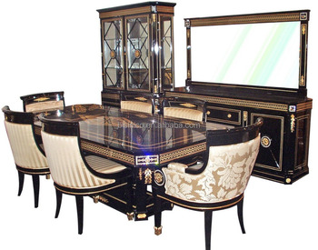 Bisini Brand Luxury Gold and Black Perfect Match Dining Room Formal Rectangle Table Set