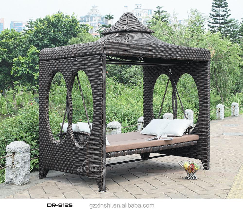 Popular Garden Ratttan Swing Bed With Canopy Outdoor