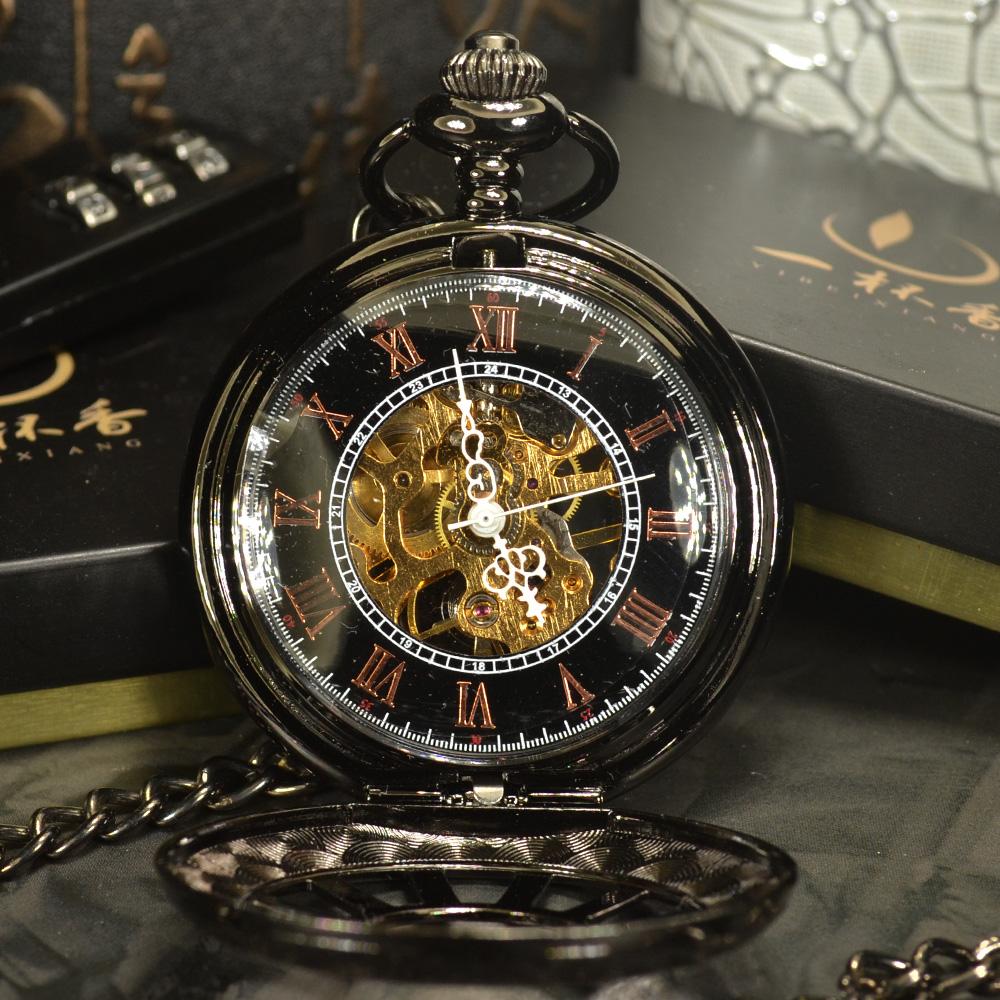 Kette Herren uhr Schwarz Steampunk Skelett Mechanische Taschenuhr Herren Antike Luxusmarke Halskette Taschenuhr