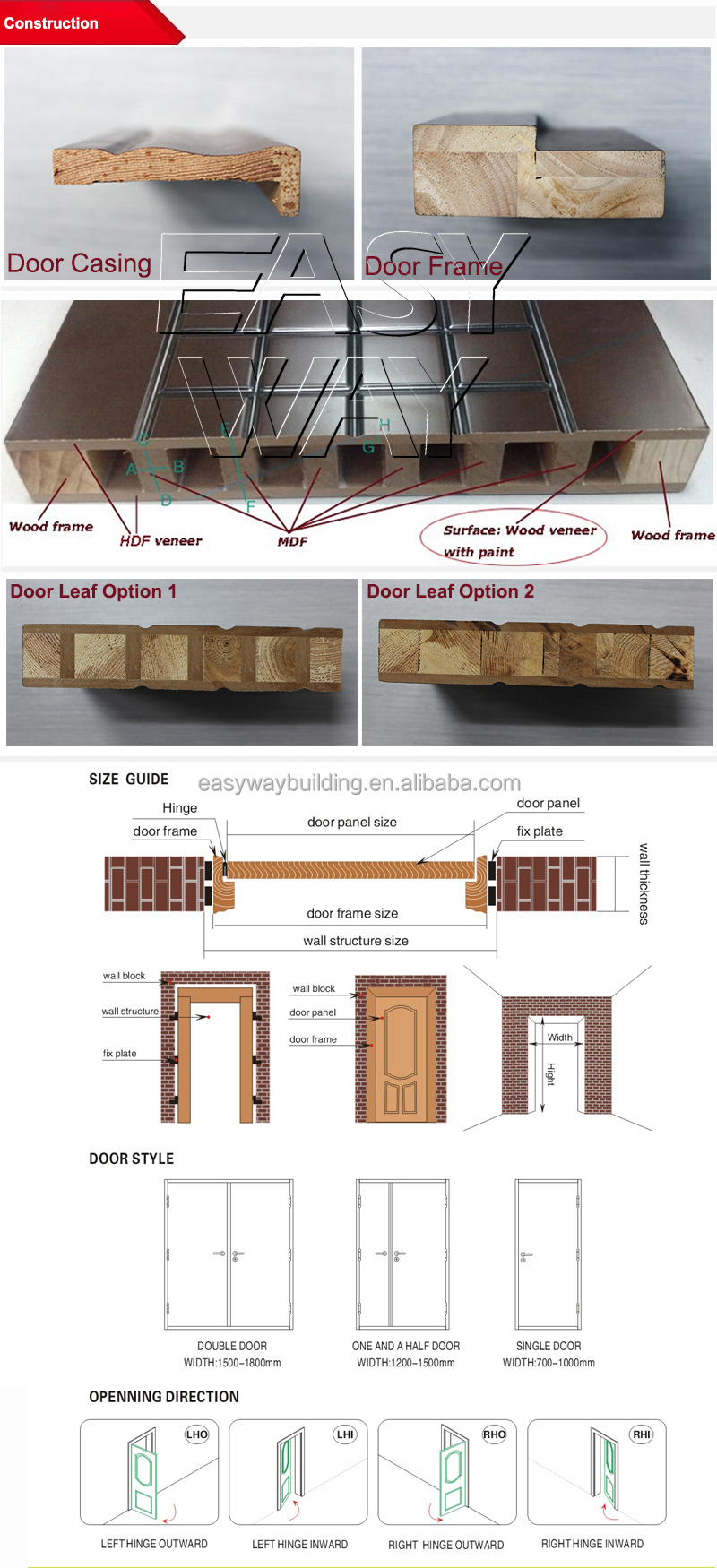 cheap price sale wooden main door design double swing door