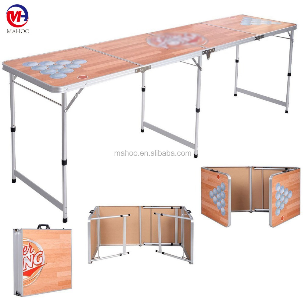 Custom Aluminum Portable Outdoor Indoor Game Party 8' Folding Beer Pong Table