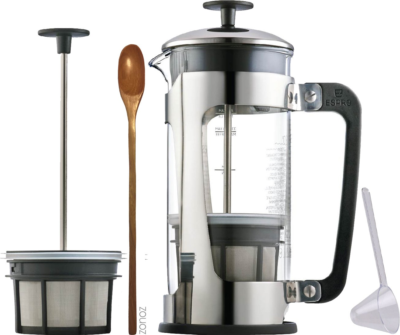 Espro Coffee Press P5-18 oz, Glass Carafe and Stainless Steel Cage, Zonoz Wooden Stirring Spoon & Zonoz One-Tablespoon Plastic Clever Scoop (Bundle)