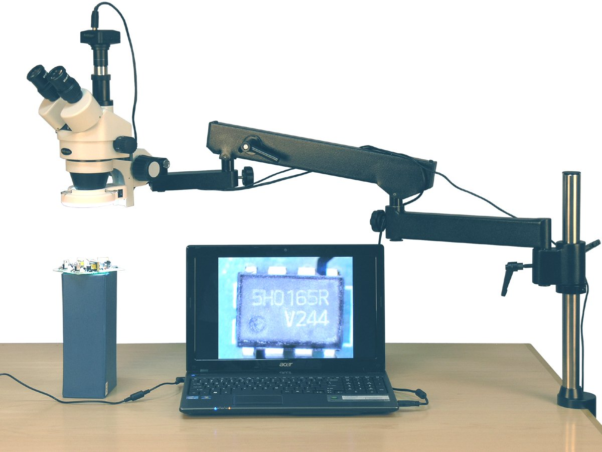 AmScope SM-8TZ-144S-8M Digital Professional Trinocular Stereo Zoom Microscope, WH10x Eyepieces, 3.5X-90X Magnification, 0.7X-4.5X Zoom Objective, 144-Bulb LED Ring Light, Articulating-Arm Boom Stand, 110V-240V, Includes 0.5x and 2.0x Barlow Lenses and 8MP Camera with Reduction Lens and Software