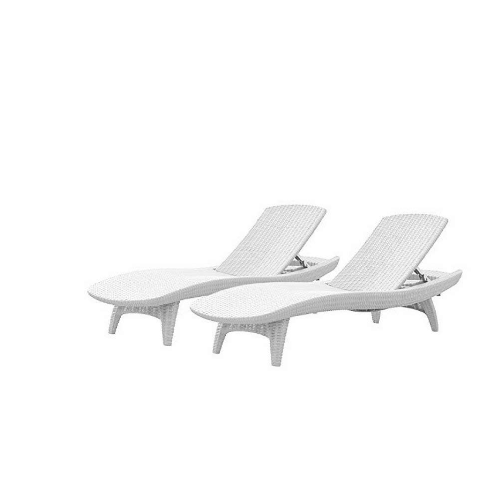 Ktr Portable Chaise Lounge, Polypropylene Resin Material, White Color, Ideal For Outdoor Spaces, Resistant To Weather Conditions, Stylish Design, Set Of 2 Pieces & E-Book Home Decor
