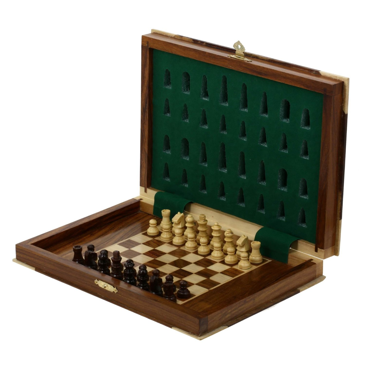 Unique Chess Wood Magnetic Pieces Board Game Book Shape Wooden Box