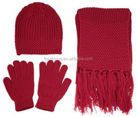 Women Striped Acrylic Knitted Hat And Scarf Sets