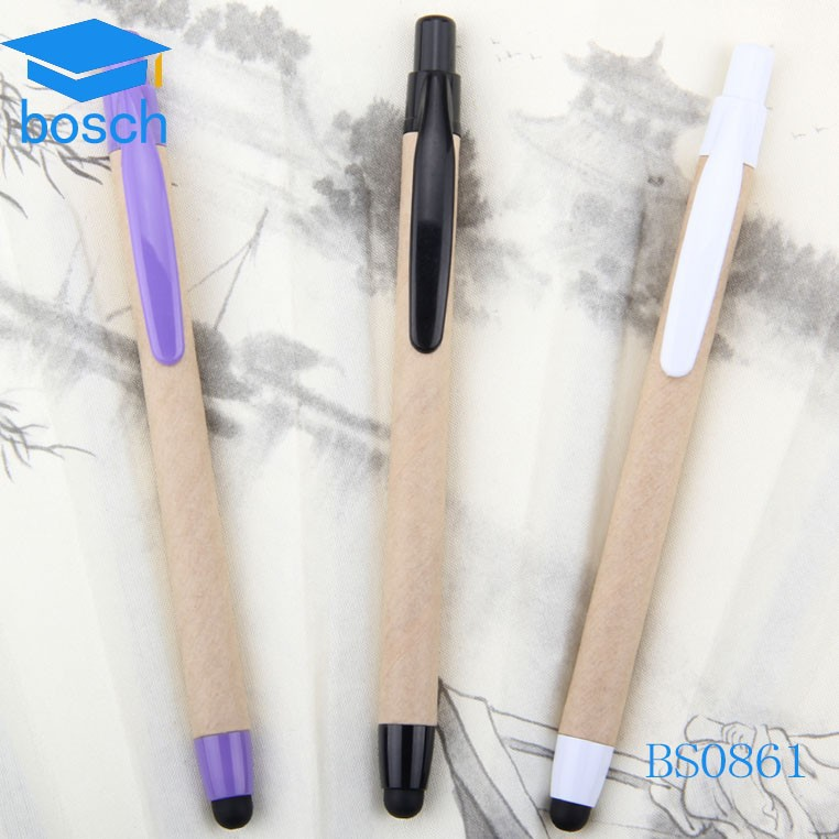 Eco friendly paper barrel stylus ballpen, recycled stylus gift pen