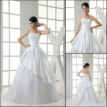 JJ3032 Free Shipping Taffeta Ball Gown Skirt bridal Dress 2013