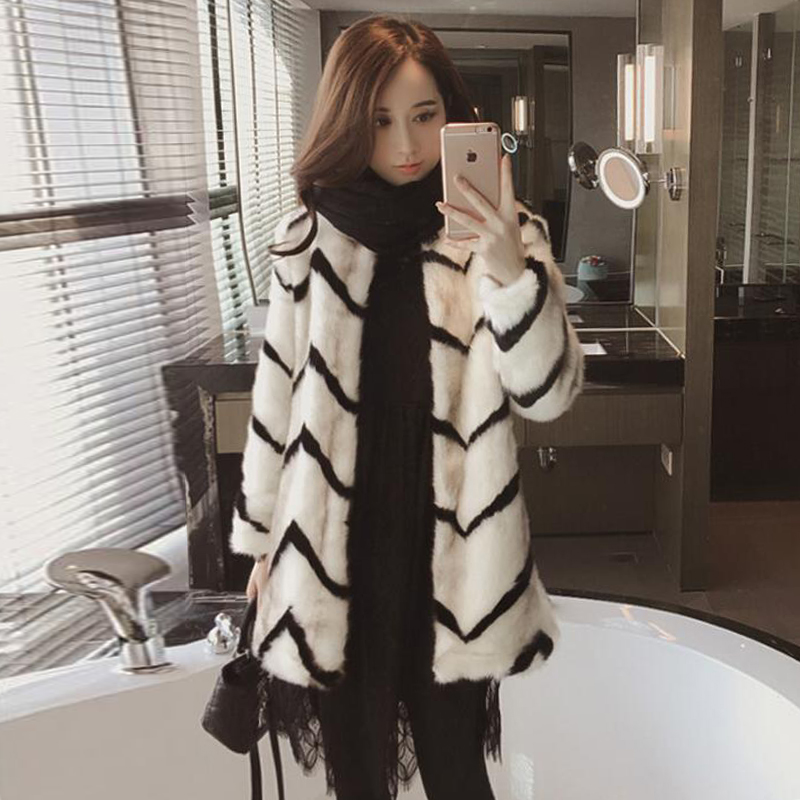 Wholesale stylish cheap winter wear round neckline faux mink fur coat women