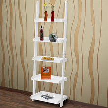 White Painted Folding MDF Wooden Storage 5-Tier Book Shelf