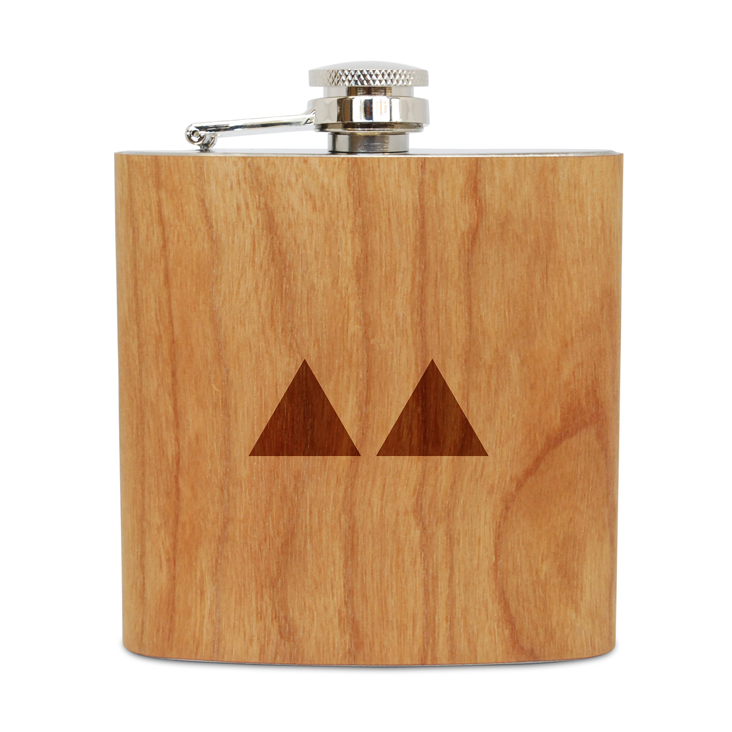 WOODEN ACCESSORIES COMPANY Cherry Wood Flask With Stainless Steel Body - Laser Engraved Flask With Twin Peaks Design - 6 Oz Wood Hip Flask Handmade In USA