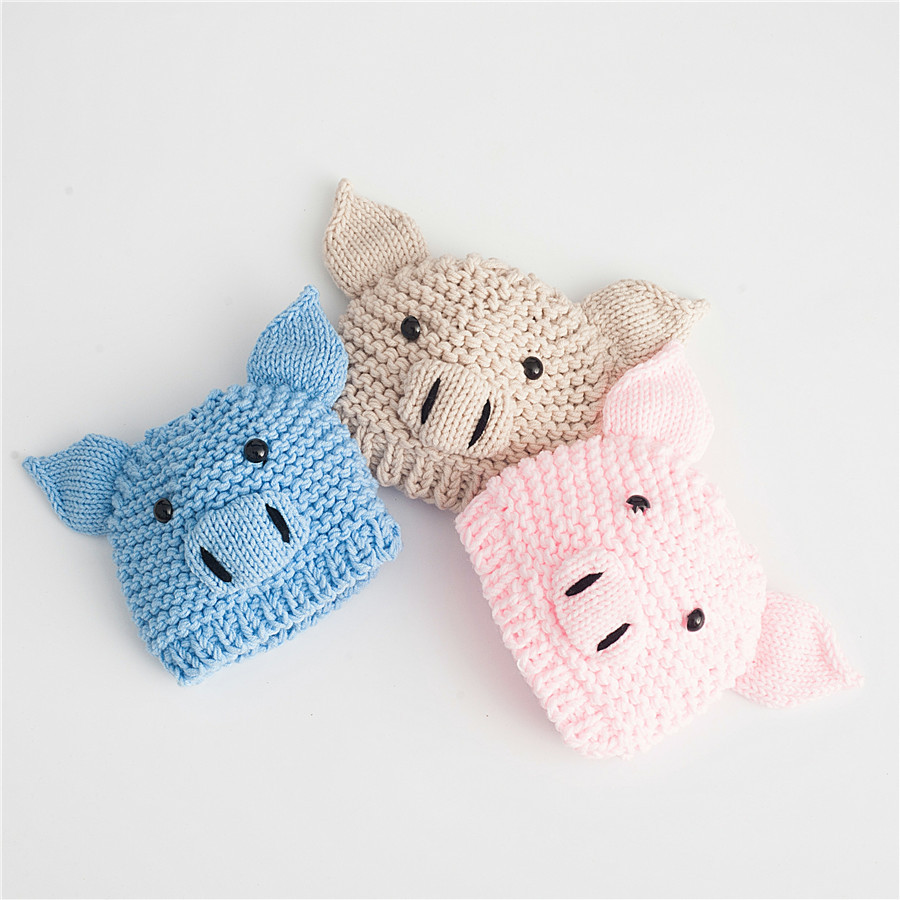 2019 New Fashion Crochet Baby Pig Hat Chinese New Year Pig Year