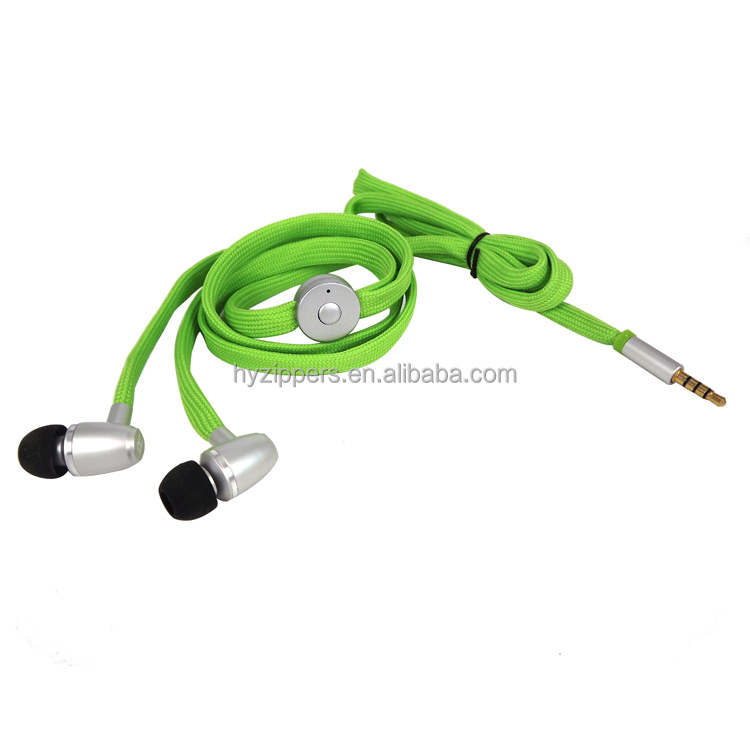 high quality silicone earplug shoelace earphones mobile phone listening device