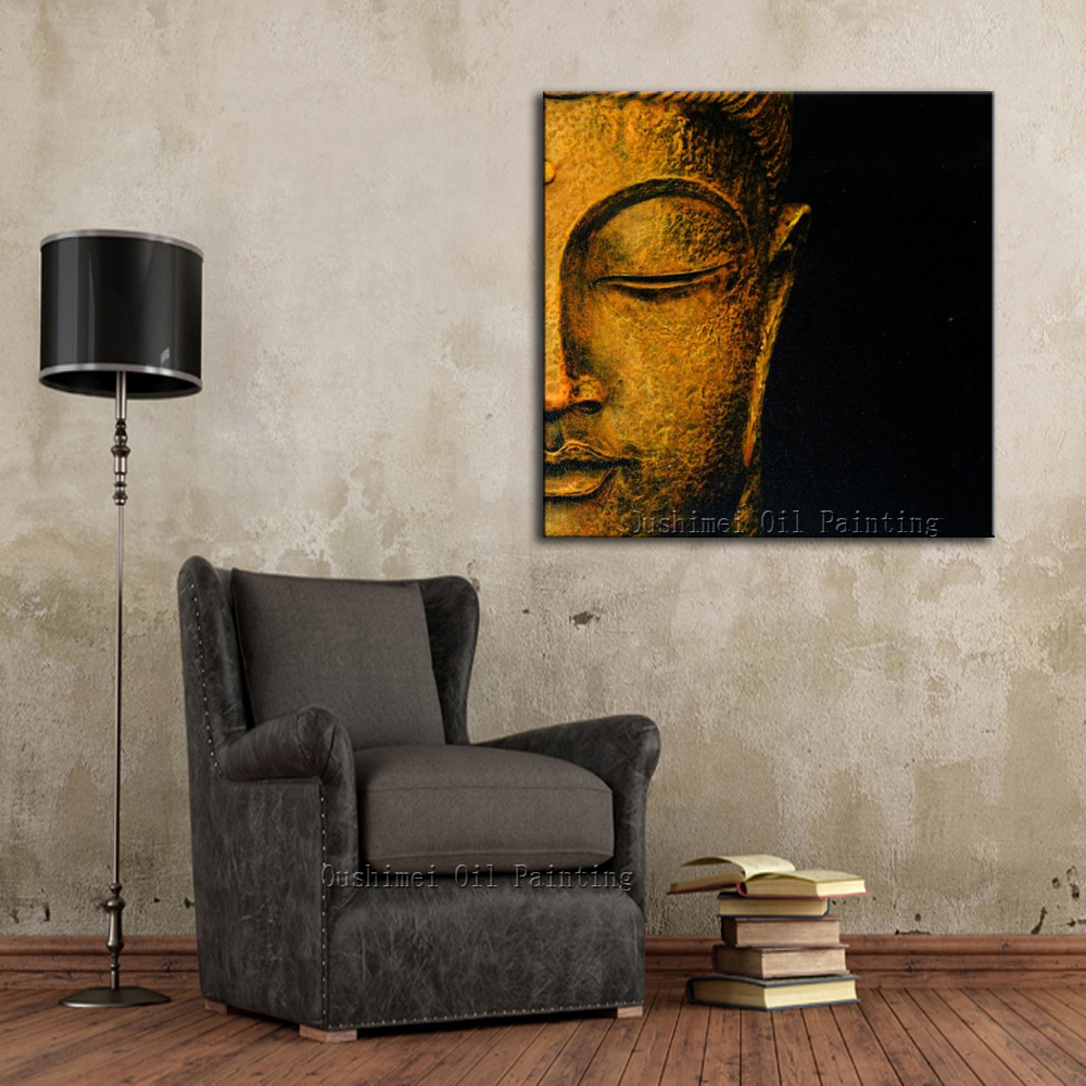Free Shipping Best Wall Decoration Handmade Buddha Portrait Painting On Canvas Hand-painted Abstract Modern Buddha Oil Paints