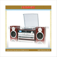 MT-38 - 3 SPEED WOODEN TURNTABLE CD RECORD CASSETTE PLAYER WITH DOUBLE CD PLAYER/ BURNER,