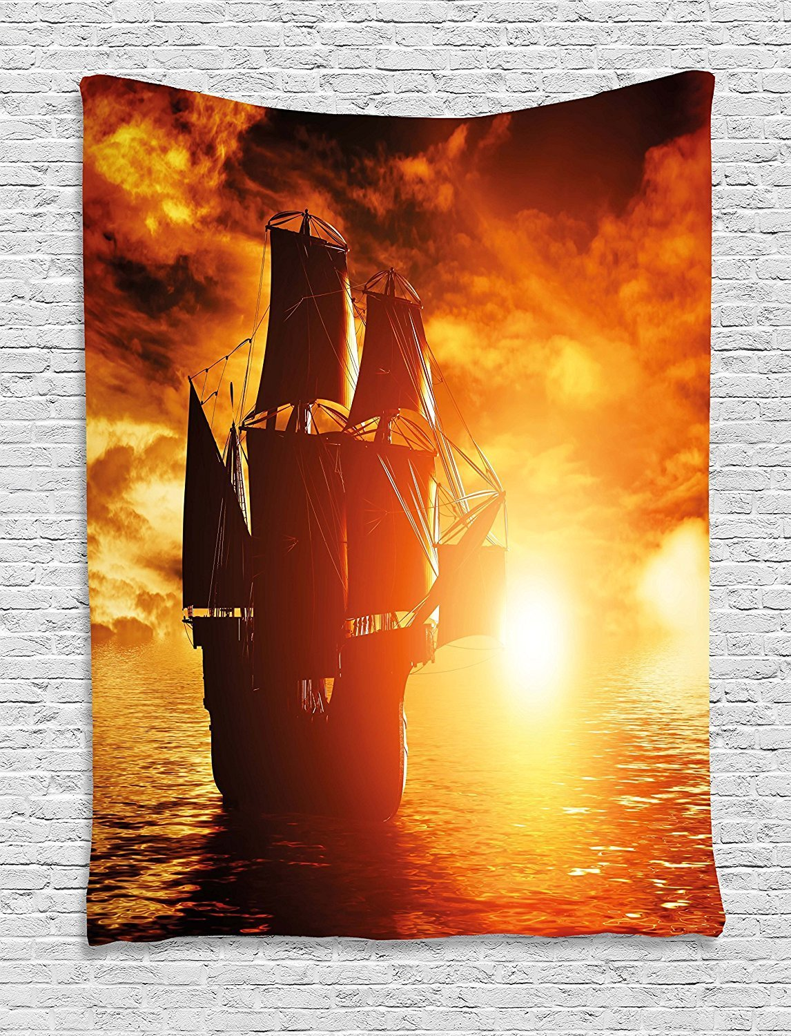XHFITCLtd Pirate Ship Tapestry, Ancient Pirate Ship Sailing on the Ocean at Sunset in Full Sail Print, Wall Hanging for Bedroom Living Room Dorm, 60 W X 80 L Inches, Orange Yellow Black