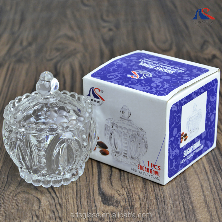 Glass Round Sugar Bowl with Glass Lid 8 cm High