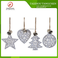 New Star Shape Christmas Ornaments Engraved Metal Xmas Tree Hanging Personalized