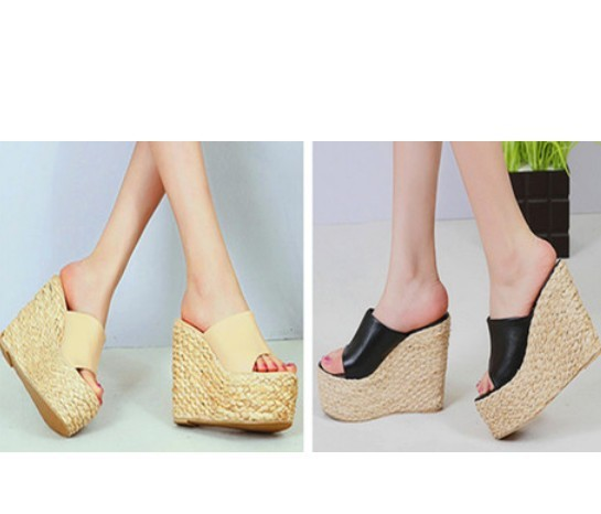 78a7b49d597 Get Quotations · 2015 celebrity casual weave straw espadrilles pu leather  thong clip toe mules platform wedge heel sandals