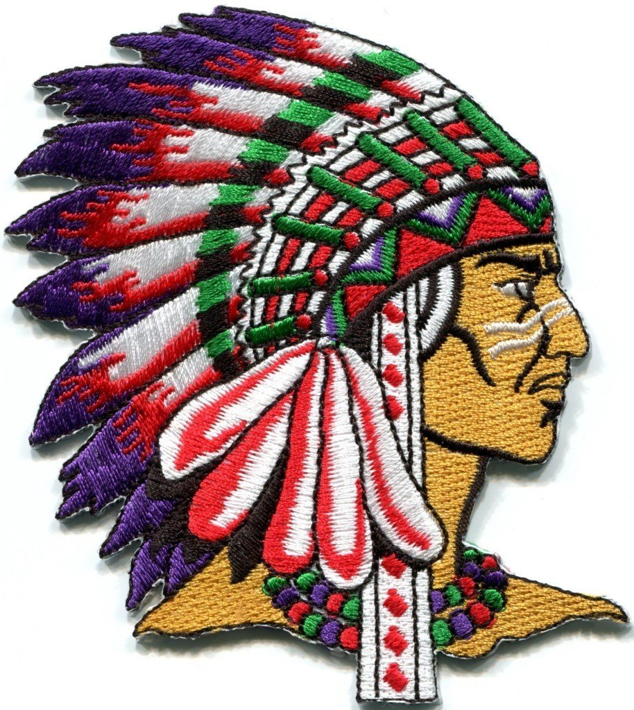 Native American Indian Chief Retro Applique BIG Xl Applique Iron-on Patch S-251 Handmade Design From Thailand