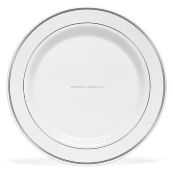 PS plate plastic disposable wedding plates with silver rim