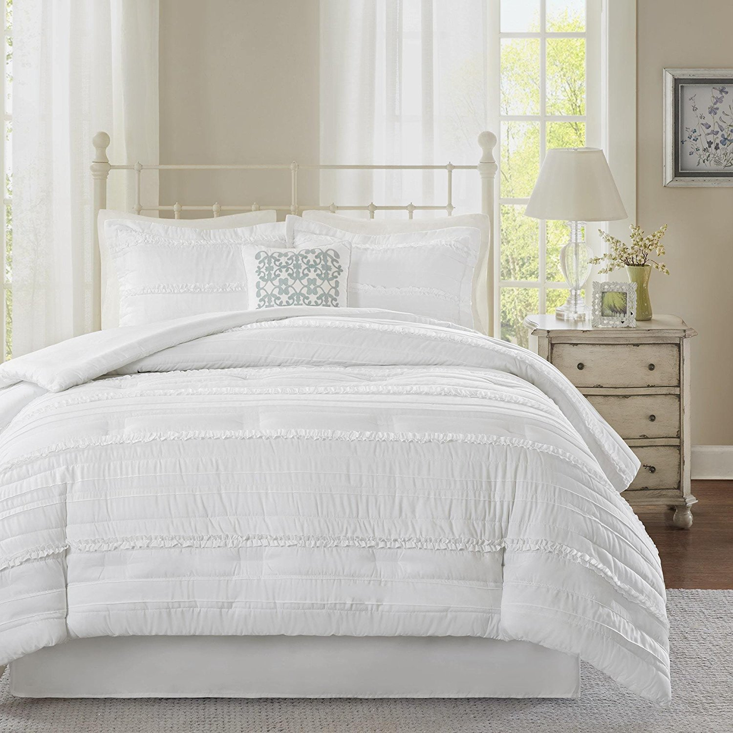 5 Piece White Solid Ruffled Stripes Pattern Comforter Cal-King Set, Beautiful Stylisg ruched Horizonral Stripe Design, Boho Shabby Chic Print, Reversible Bedding, Classic French Country Style, Unisex