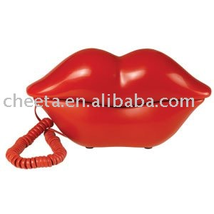 lip shape corded cartoon telephoen with funny and fancy phone