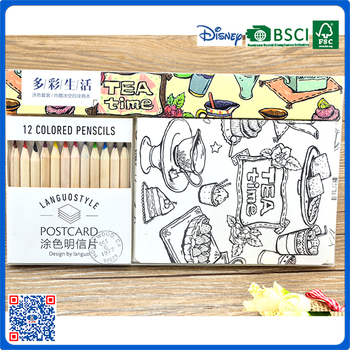 Promotional Kids Postcard Coloring Book Drawing Set With 12pcs Color ...