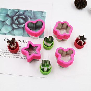 Stainless steel cookie cutter with gauntlet heart five star plum blossom cookie cutter cake baking mold