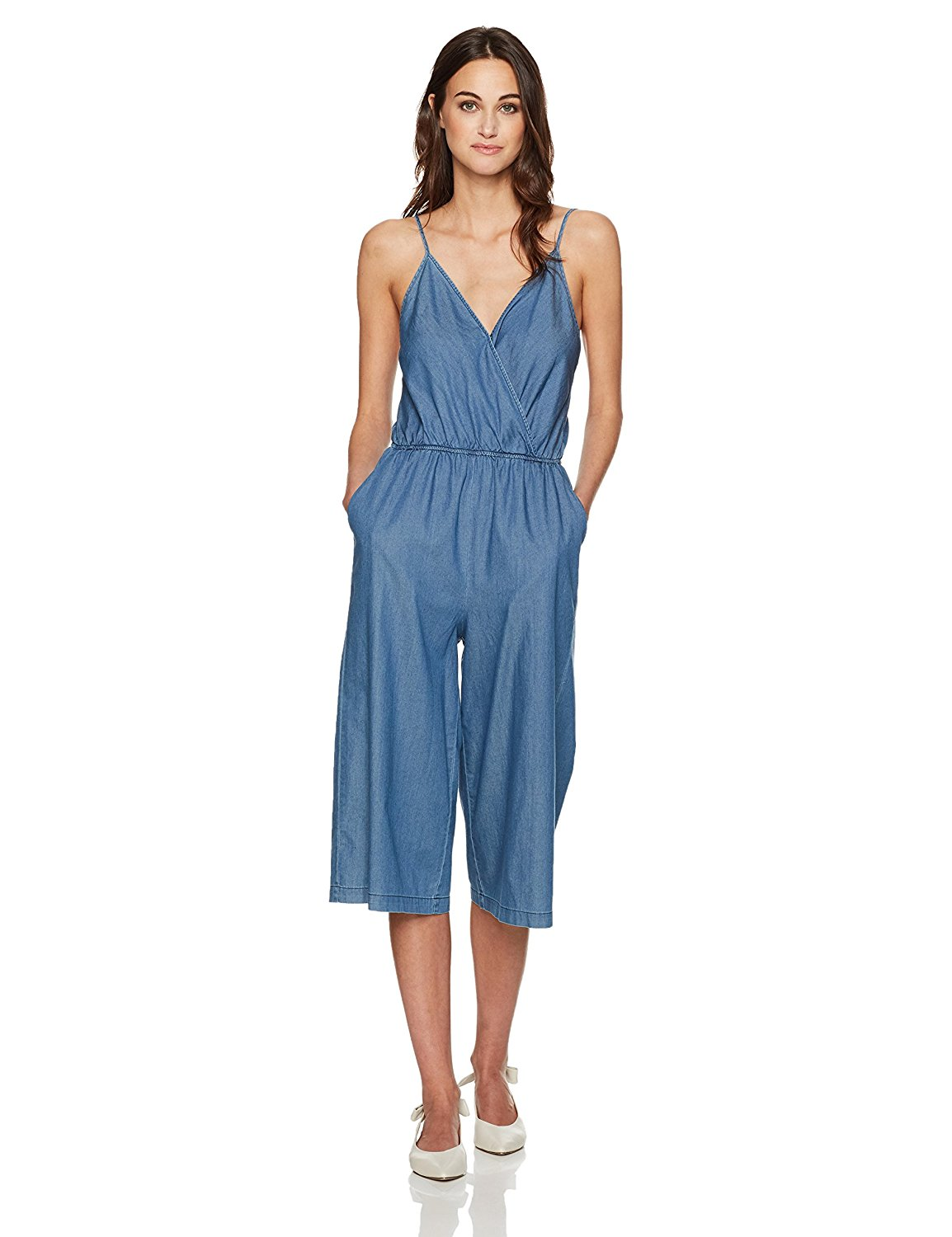 8abd33d89224 Get Quotations · BCBGeneration Women s Denim Surplice Culotte Jumpsuit