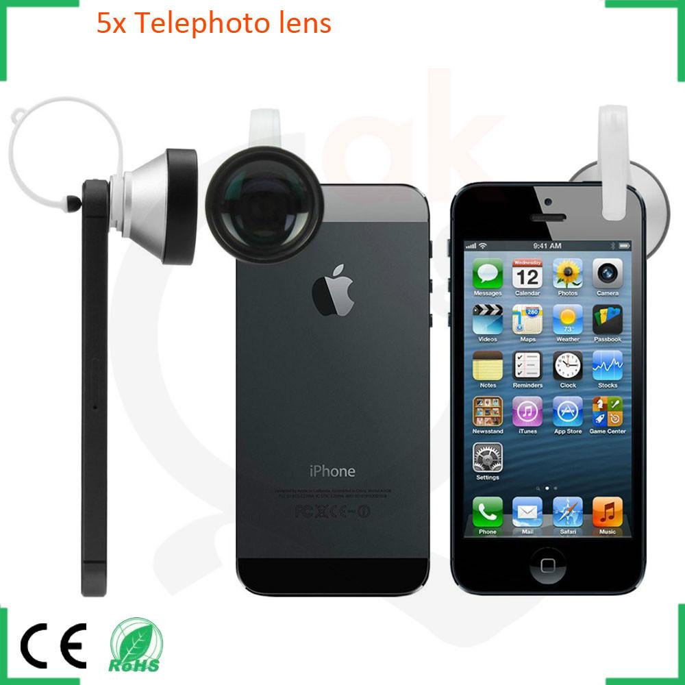 mobile phone zoom lens for iPhone Samsung HTC Motorola LG Nokia 5x telephoto lens telescope