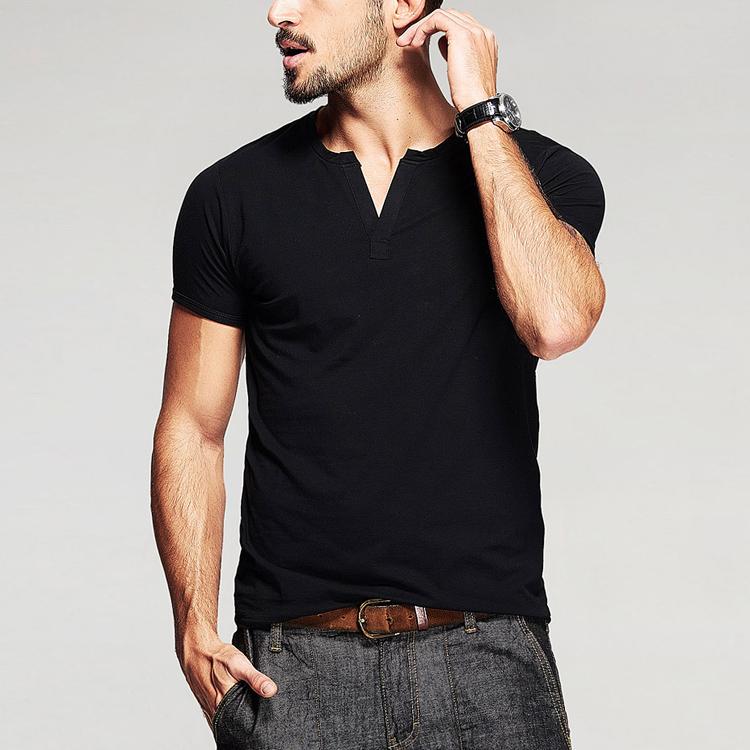 卸売アスレチック摩耗平野ブランク95綿/5エラスタンvネックタイトフィットメンズジムtシャツ