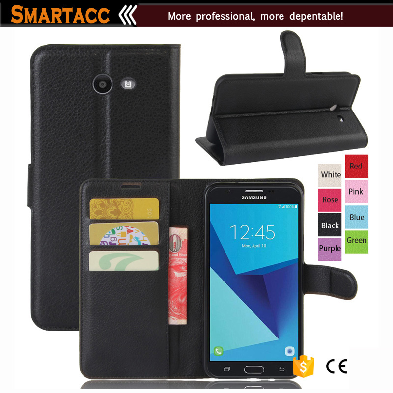 Black Flip PU Leather Magnetic Closure Stand Cover Wallet Case For Samsung Galaxy J7 2017