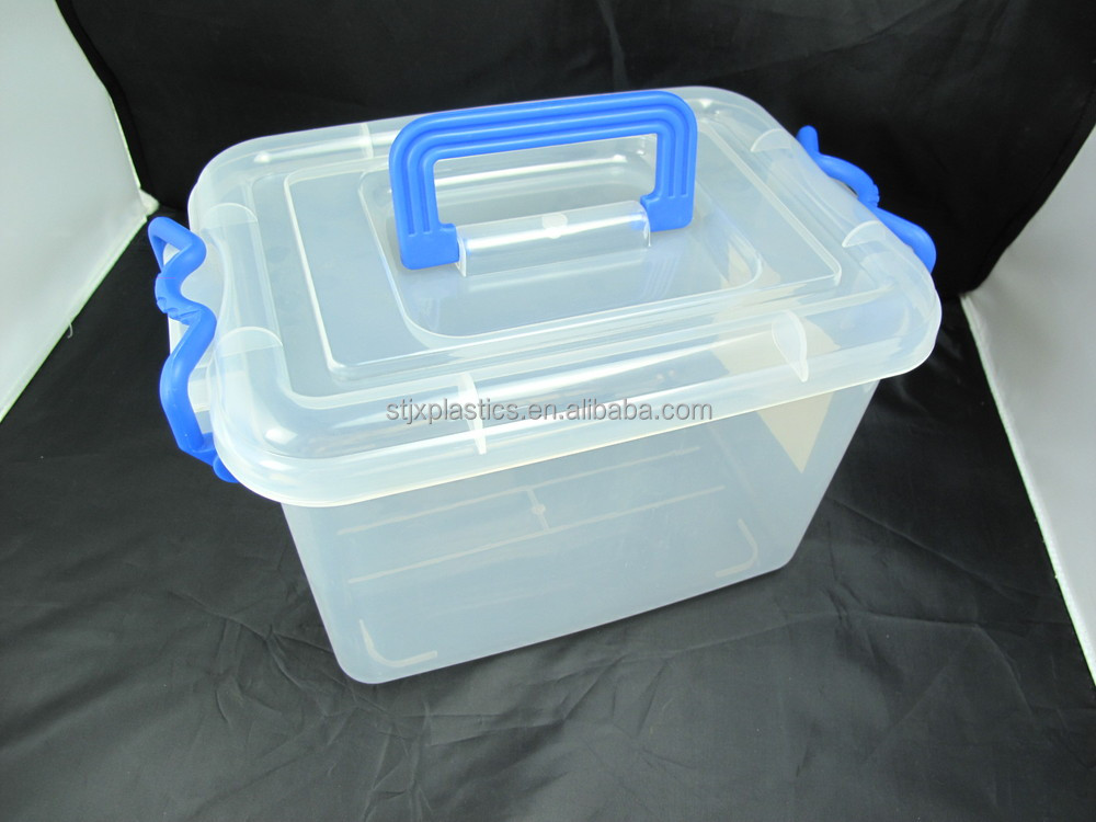 20l Attached Lid Large Clear Pp Plastic Storage Container