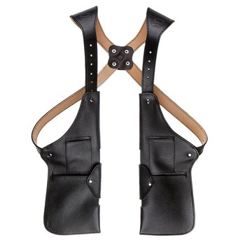 Hot sale black leather vest body wallet travel vest with many pockets utility vest for men