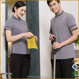 High quality linen short sleeve hotel housekeeping uniforms hotel cleaners work clothes custom form china