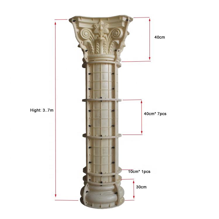 Diameter 25cm decorative roman concrete pillars column molds for sale