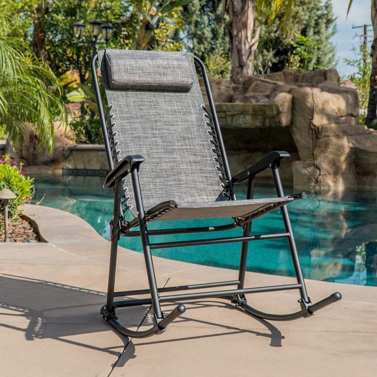 Globe House Products GHP 330-Lbs Weight Capacity Weather-Resistant Dark Grey Steel Frame Rocking Chair