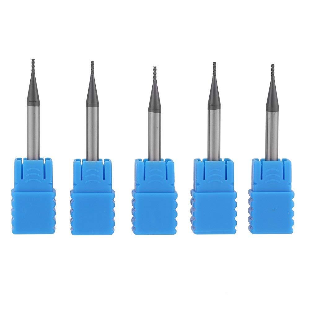 5pcs Tungsten Carbide E2-flute Milling Cutter Tool End Mill Set CNC Rotary Burrs Set