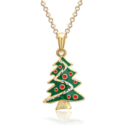 USA&Europe trending Christmas tree shaped diamonds necklace for women souvenir jewelry