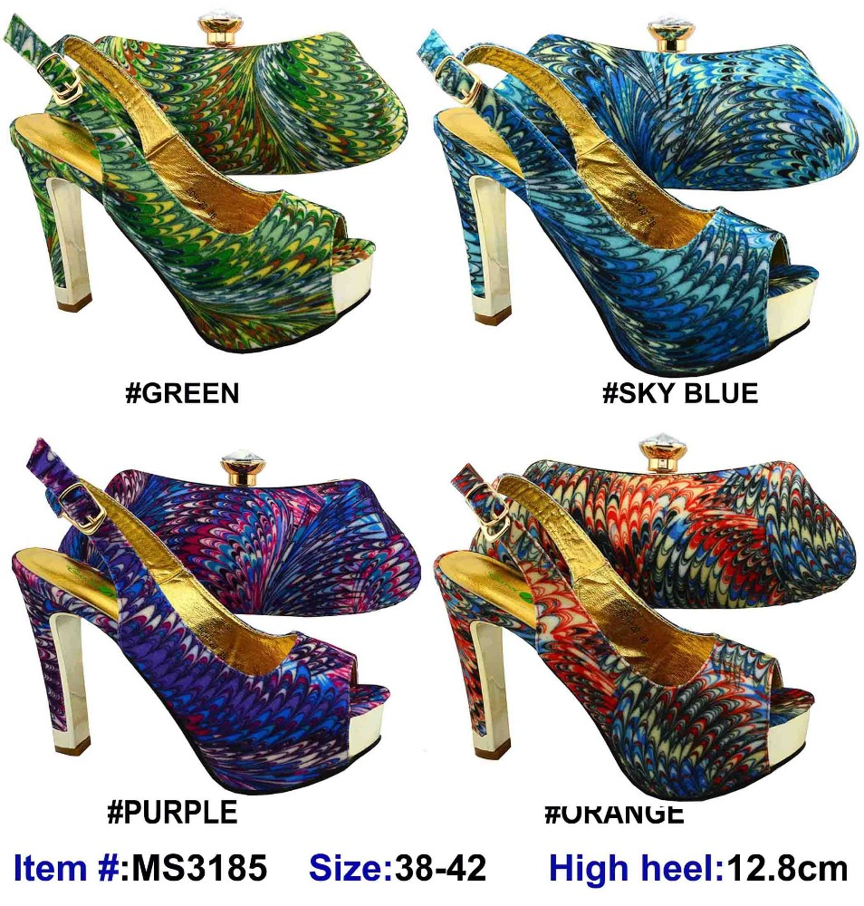 MS3185 Sexy lady high <strong>heels</strong> and bags 2016 guangzhou newest pumps shoes with bag set