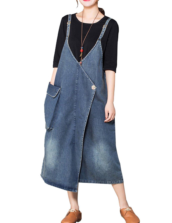 0304796b7bf Get Quotations · Zoulee Women s Sleeveless Bib Overall Dress Jean Dress