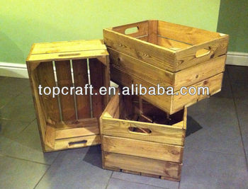 Handmade wooden crates rustic vintage look storage box for Vintage crates cheap