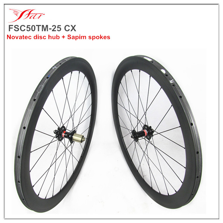 carbon tubular wheels 50mm for cyclocross wheels 6 bolts disc hub, Novatec carbon wheels D771SAB/D772SB hub with Sapim spokes