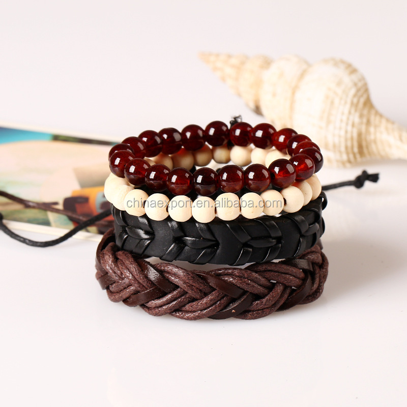 Wholesale alibaba brown color men bracelet with crystal bead