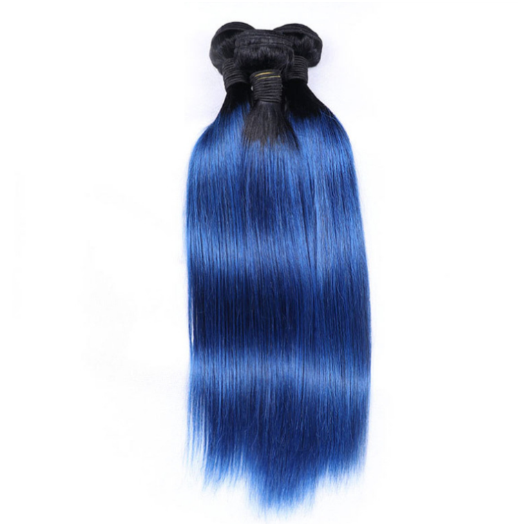 "Ombre Raw Indian Curly Hair /1B Green Blue Human Hair Weave 8""-30"" 7A 8A Indian Temple Hair/ chinese hair extension vendor"