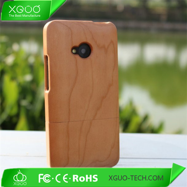 OEM art design bamboo case for htc one M7