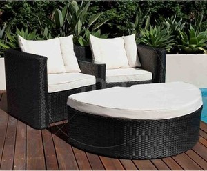 Rattan Chair And Footstool Wicker Set